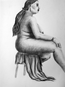 Seated Woman with Drapery - vine charcoal on paper