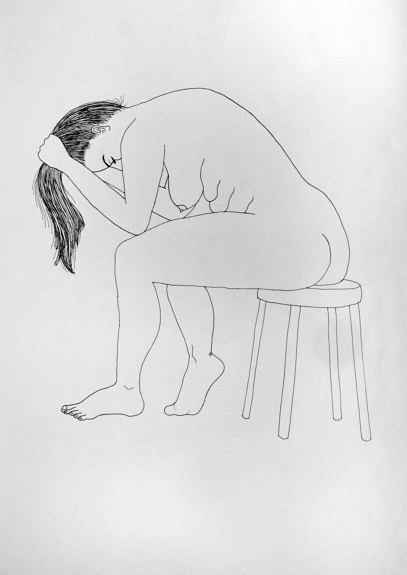 Seated Woman with Ponytail - ink on paper