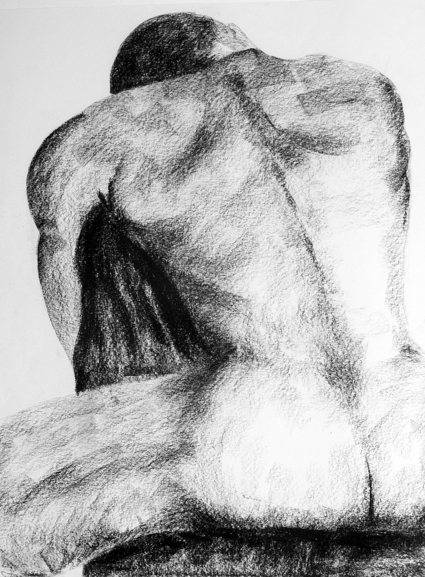 Seated Man - conte crayon on paper