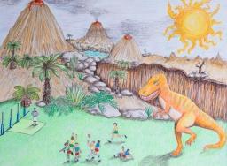 Prehistoric Landscape with Australian Rules Football - colored pencil on paper