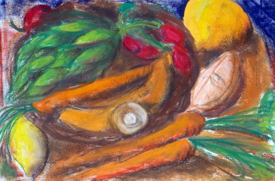 Kitchen Still Life with Artichoke - oil pastel on paper