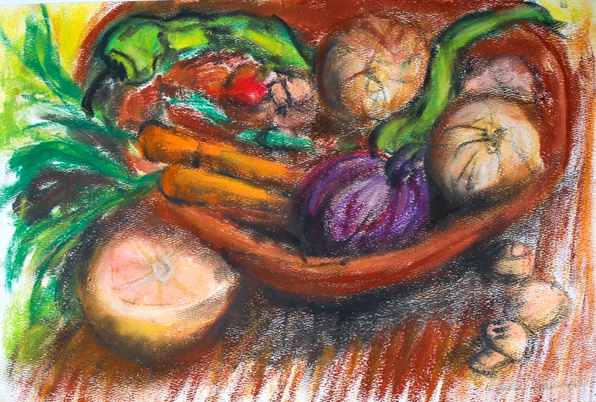 Kitchen Still Life with Grapefruit - oil pastel on paper